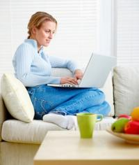 Lady Relaxing On Computer